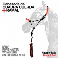 CABEZADA CUADRA CUERDA + RAMAL 722730-9 NEGRO/ROJO