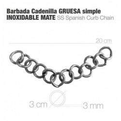 BARBADA CADENILLA GRUESA SIMPLE INOX MATE