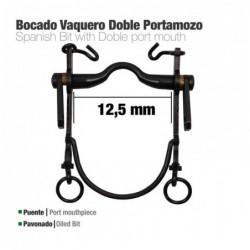 BOCADO VAQUERO DOBLE PORTAMOZO PAVONADO 12.5cm