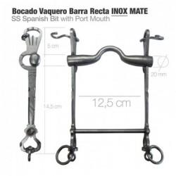 BOCADO VAQUERO BARRA RECTA 2D INOX MATE 12.5cm