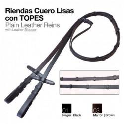RIENDAS CUERO LISAS CON TOPES