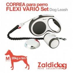 PERRO CORREA FLEXI VARIO SET 20kg. 5m. M GRIS