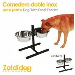 PERRO COMEDERO DOBLE INOX 2 x 1800ml