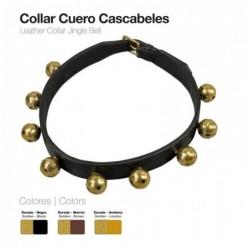 COLLAR CUERO CASCABELES 4cm.