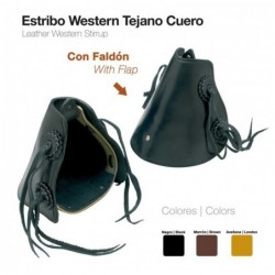 ESTRIBO WESTERN TEJANO CUERO CON FALDÓN
