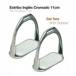 ESTRIBO INGLÉS CROMADO CON TACO A01-13K 11cm