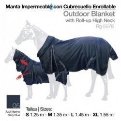 MANTA IMPERMEABLE CUBRECUELLO ENROLLABLE AZUL