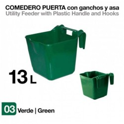 COMEDERO PUERTA CON GANCHOS Y ASA VERDE 13 litros