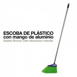 ESCOBA PLÁSTICO CON MANGO DE ALUMINIO