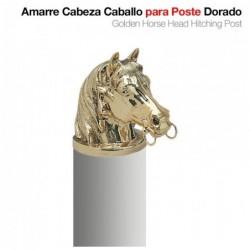 AMARRE CABEZA CABALLO PARA POSTE DORADO
