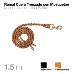 RAMAL CUERO TRENZADO CON MOSQUETÓN 1.5m