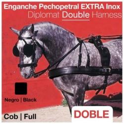 ENGANCHE PECHOPETRAL EXTRA INOX DOBLE NEGRO